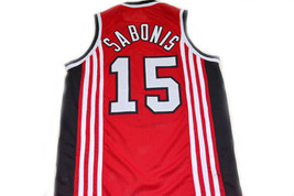 Arvydas Sabonis #15 CCCP Team Russia Basketball Jersey Red Any Size image 5