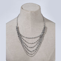 Silver Sequin Chain Statement  Necklace