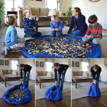 Storage 150cm Bag Toys Organizer Rug Box For Lego Dolls Portable Kids Play Mat - $14.59