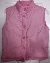 Gap Kids PINK reversible down vest 14 XXL large girls puffer feather pla... - $17.59