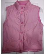 Gap Kids PINK reversible down vest 14 XXL large girls puffer feather pla... - $17.59