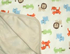 Carters Off White Tiger Lion Rhino Alligator Roar Baby Blanket Tan Back ... - $17.59