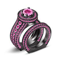 New 925 Sterling Silver 14K Black Gold Filled Women's Wedding Bridal Ring Set - $175.99