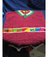 "Vtg Wool Hand Made Child Size Mexican Poncho with Fringe  30"" x 27"" Prop... - $29.79"