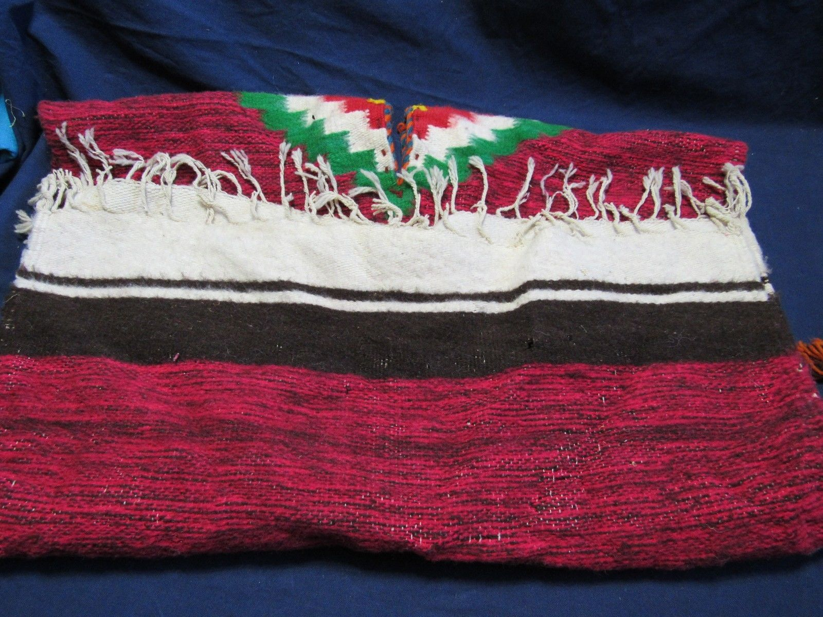 "Vtg Wool Hand Made Child Size Mexican Poncho with Fringe  30"" x 27"" Prop Display"