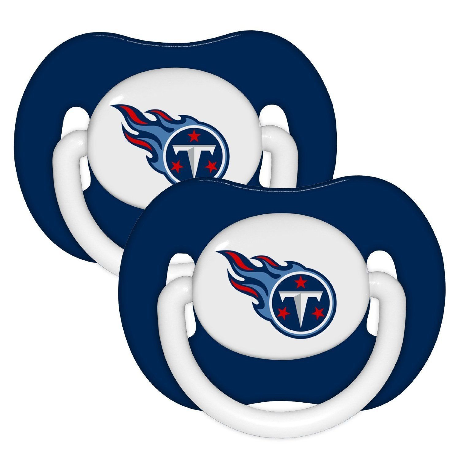 TENNESSEE TITANS 2-PACK BABY INFANT ORTHODONTIC PACIFIER SET NFL FOOTBALL
