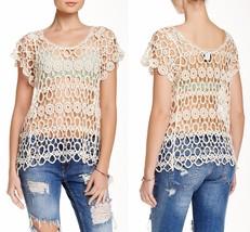 Bobeau Women's Crocheted Lace Blouse (Petite),Natural, Size: PM,NWT $60.00 - $22.76