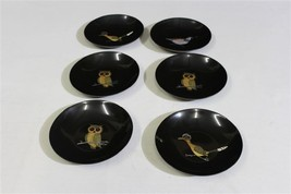"Lot 6 Couroc Inlay Black Shallow Bowls or Dishes 6 3/4"" Owls, Birds - $49.99"