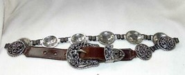"Lady Nadim USA  Concho and Leather Belt Small 26-29"" Waist a  1 1/2"" Wid... - $18.80"