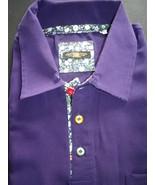 Half sleeve polo shirt, luxury peachskin deep purple, hand made in England  - $29.50