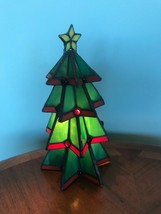 Stained Glass Christmas Tree - Tiffany Style - Lamp - Night Light -Vinta... - €35,61 EUR