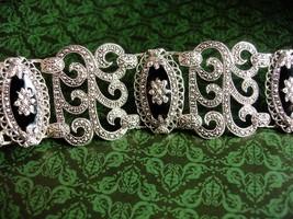 WIDE Victorian Revival Bracelet Fabulous vintage silver marcasite bracelet - $175.00