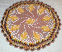 Crochet Doily, Fall Leaves on tan background, multi colored leaves, 13 I... - $22.00