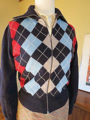 4ef688bb82b Vitg United Colors Benetton Argyle Sweater Zip Front Small women Teen EEUC