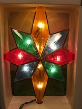 New Christmas Christmas 10 Light Multi-Colored Stained Glass Look Tree T... - $9.89