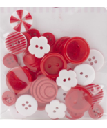 Red Button Bouquet 36pc assorted buttons sewing cross stitch accessory   - $3.00