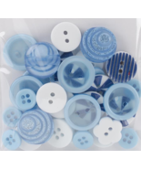 Blue Button Bouquet 36pc assorted buttons sewing cross stitch accessory   - $3.00