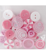 Pink Button Bouquet 36pc assorted buttons sewing cross stitch accessory   - $3.00