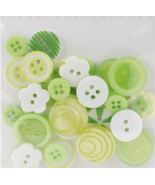 Green Button Bouquet 36pc assorted buttons sewing cross stitch accessory   - $3.00