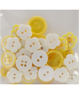 Yellow Button Bouquet 36pc assorted buttons sewing cross stitch accessory   - $3.00