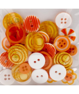 Orange Button Bouquet 36pc assorted buttons sewing cross stitch accessory   - $3.00