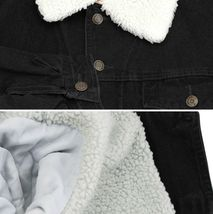 Men's Classic Button Up Sherpa Fleece Lined Cotton Denim Trucker Jean Jacket image 13