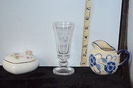 Mixed Lot Heart Shaped Trinket Dish, Clear Beer Glass, Ceramic Creamer Pitcher - $7.09