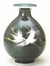 Flower Vase Takaoka Bronze Handcraft Engraved Rare Crane Pot Japan H8.85 - $1,015.09