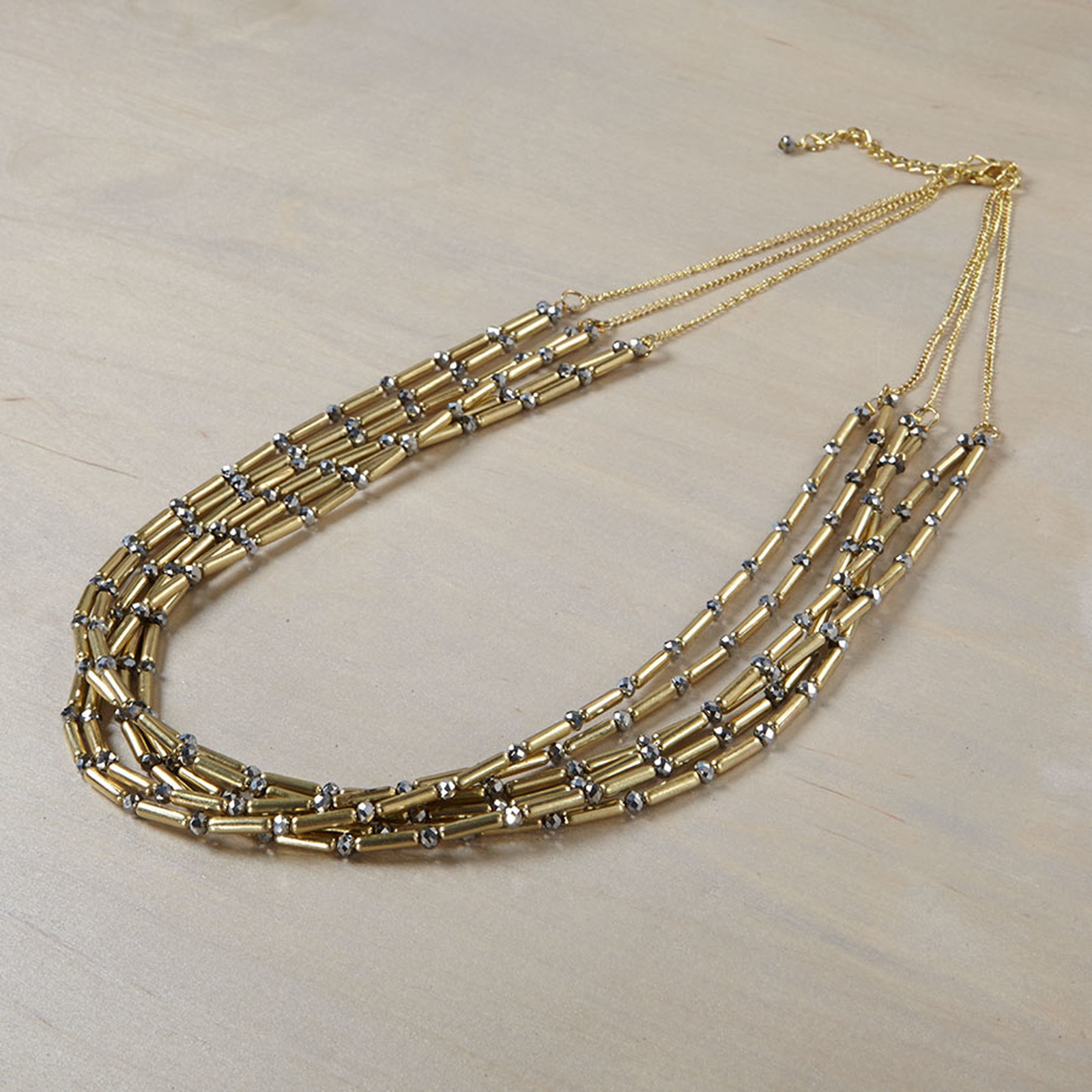 Gold Tubular Statement  Necklace w hematite bead accents