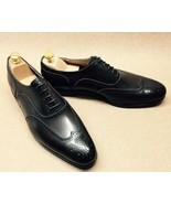 Customized Men's Black Color Leather Shoes, Men's Wing Tip Brogue Lace U... - $149.99+