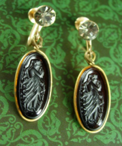 Antique Earrings Art NOUVEAU amber glass cameo Goddess Smoky topaz vinta... - $125.00