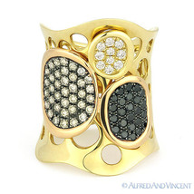1.19 ct Brown Black & White Diamond Right-Hand Ladies' Long Ring 18k Yellow Gold - €2.654,39 EUR