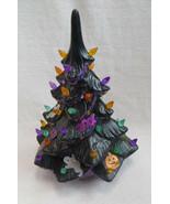 Vintage Ceramic Christmas Tree Halloween Theme Black Old Handmade Not Co... - $35.00