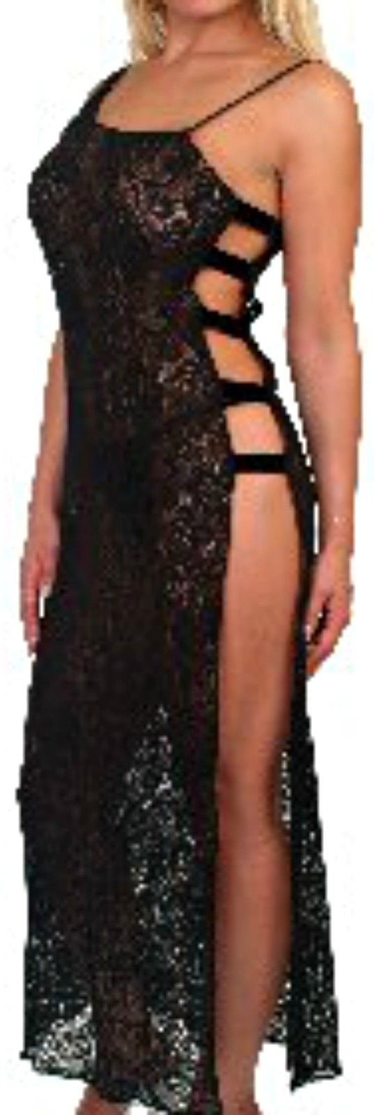 Black Stretch Lace Long Nightgown M Sexy Open Side
