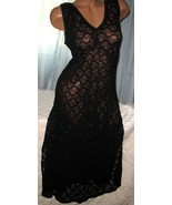 1X Black All Stretch Lace Long Nightgown Plus Size Lingerie Gowns Side S... - $22.00