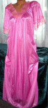 Vivid Rose Pink Long Nightgown M Hi Back Lace Trim Full Cut - $22.75