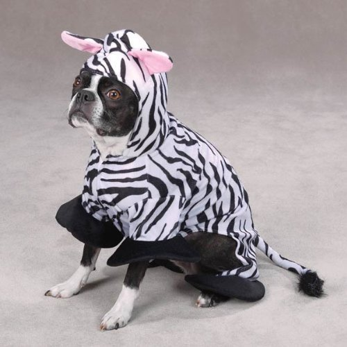 Zack & Zoey Polyester Zebra Stripes Dog Costume, X-Small, 8-Inch