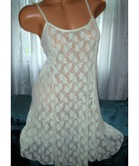 Stretch Lace Nightgown Slip Chemise 1X Plus Mint Cream Green Short Gown - $16.99