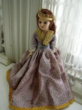"Vintage,  Elegant 7.5"" Princess Plastic Doll in Gold and Purple Gown - $17.05"