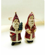 Two (2) Porcelain Victorian Folk Art Santas Holding Teddy Bear Apples Ch... - $27.90