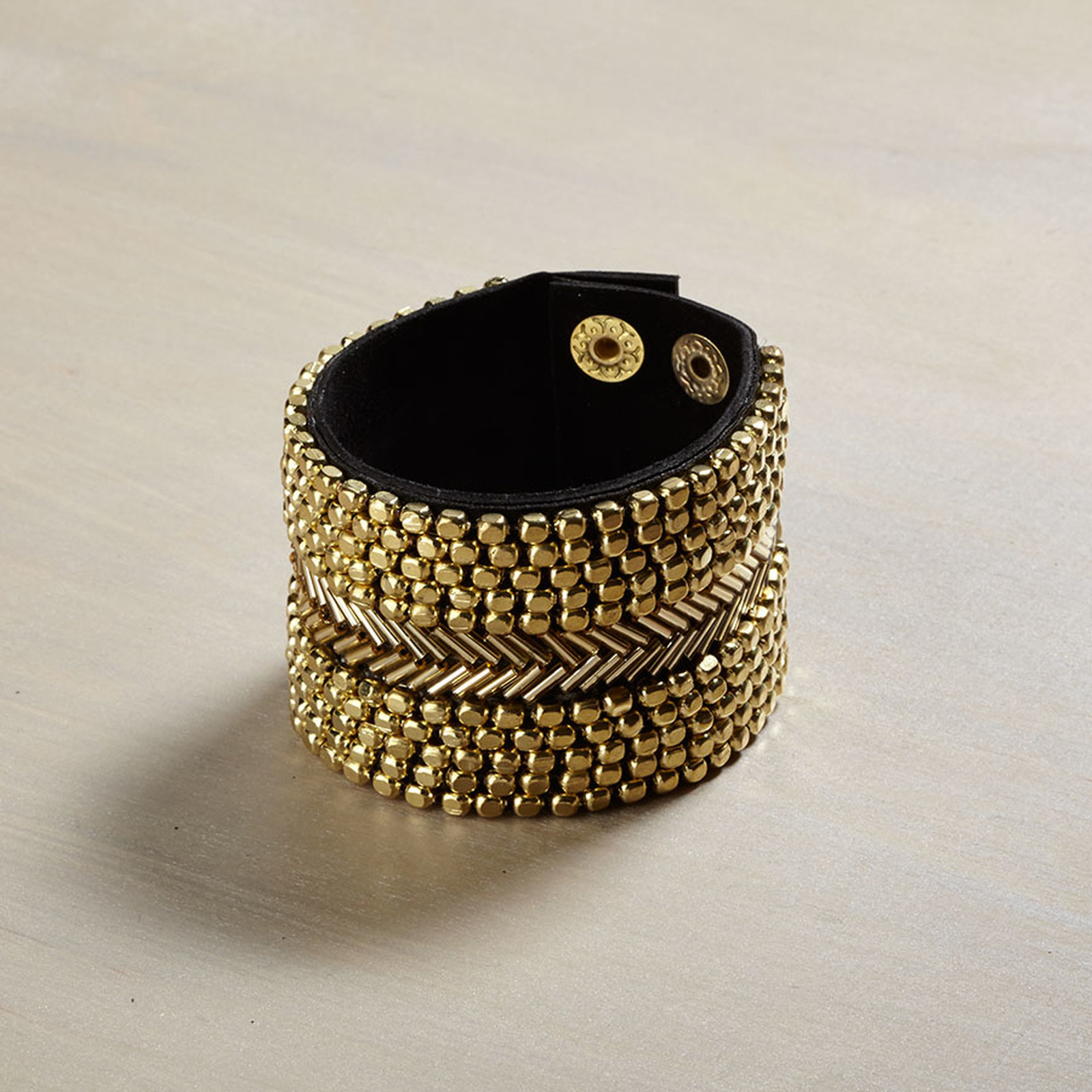 Gold bead leather bracelet cuff
