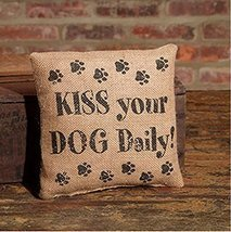 KISS Your DOG Daily! - Small Burlap Accent Throw Pillow 8-in x 8-in - $9.99