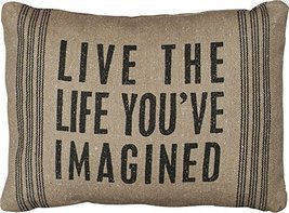 Live The Life You've Imagined - Lodge Style Canvas Throw Pillow - 15-in ... - $17.99