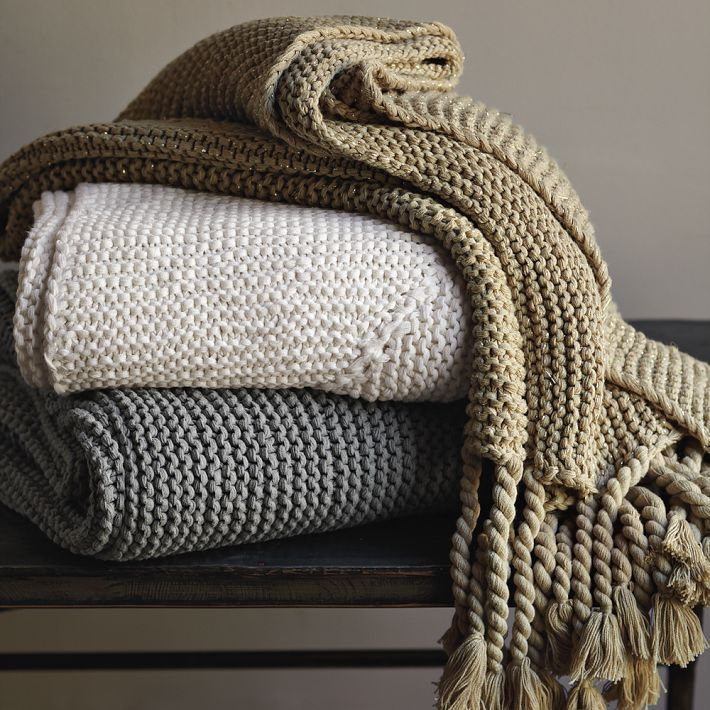 Knitting A Chunky Blanket : West elm chunky tassel knit decorative throw blanket light