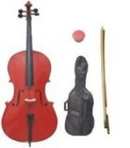 Lucky Gifts 1/16 Size Student Cello with Bag and Bow + Free Rosin ~ Red - $379.99
