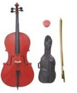 Lucky Gifts 1/16 Size Student Cello with Bag and Bow + Free Rosin ~ Red - $179.99