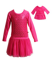 Dollie Me Girl 4-14 and Doll Matching Fuschia Dress Clothes fit American... - $22.99