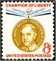 1959 8c Ernst Rudolf Johannes Reuter, Mayor of W. Berlin Scott 1137 Mint... - $0.99