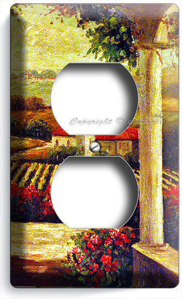 TUSCAN VINEYARD PAINTING KITCHEN DINING ROOM ART ELECTRICAL OUTLET WALL PLATES