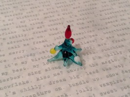 Micro miniature hand blown glass figurine tiny blue Christmas tree  deco USA NIB